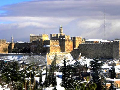מגדל דוד בשלג